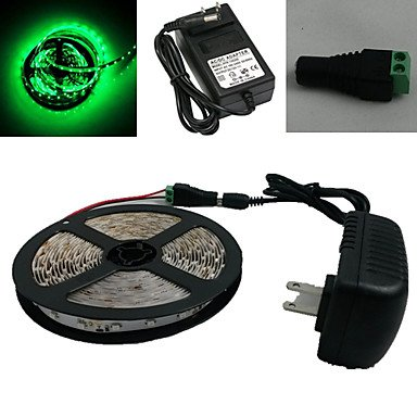 M.M Waterproof 5M 300X3528 Smd Green Led Strip Light And Connector And Ac110-240V To Dc12V3A Transformer