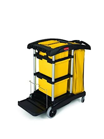 Rubbermaid Commercial FG9T7300BLA Housekeeping Cart with Yellow Bins and Zippered Yellow Bag, Black