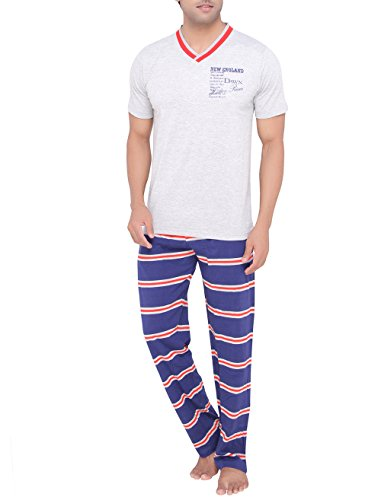 Valentine-Mens-Casual-Grey-color-V-Neck-Top-Pyjama-Set