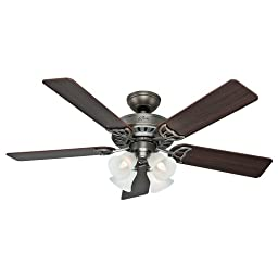 Hunter Fan Company 53065 Studio Series 52-Inch Ceiling Fan with Five Dark Walnut/Light Cherry Blades and Light Kit, Antique Pewter