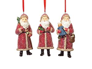 "Pack of 12 Victorian Inspirations Micro Beaded Santa Christmas Ornaments 6.5"""