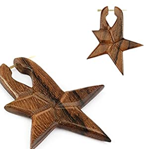 Pair of Organic Hand Carved Sono Wood Star Stirrup Hanger Earring