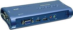 TRENDnet 4-Port USB KVM Switch Kit with Audio (Includes 4x KVM Cables) TK-409K (Blue)