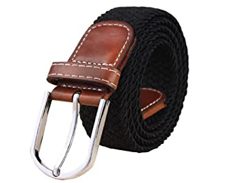 Womdee Unisex Braided Elastic Stretch Rubber String Belt (Black,Brown Head) With Accessory