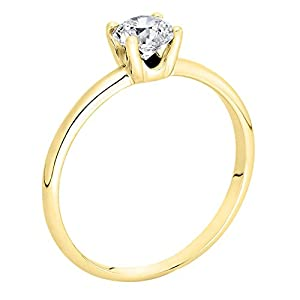 GIA Certified 14k yellow-gold Round Cut Diamond Engagement Ring (0.60 cttw, E Color, VVS2 Clarity)