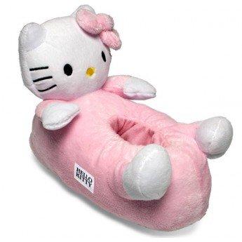 Pantofole in peluche, da bambino, Hello Kitty, colore: rosa, Rosa (rosa), 33/35