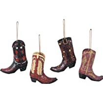 Christmas Ornaments - Resin Cowboy Boots - Set of 4
