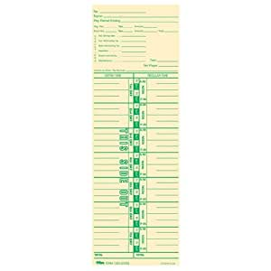 """TOPS Time Cards, Weekly, 1-Sided, Numbered Days, 3-1/2"""" x 10-1/2"""", Manila, Green Print, 100-Count (12533)"""