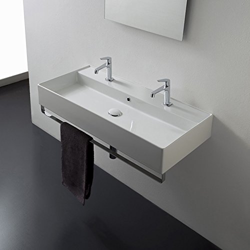 18 Inch White Ceramic Bathroom Sink, Six Hole