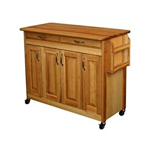 amazon com butcher block kitchen island table cart with