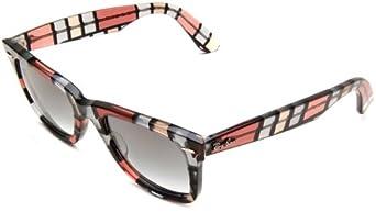Ray-Ban Wayfarer 108332 Wayfarer Sunglasses,Red & Beige Frame/Crystal Gray Gradient Lens,One Size