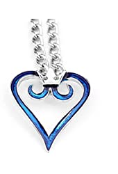 Cosplay Anime Kingdom Hearts 2 Crown Logo Pendant Blue Heart Necklace Charm
