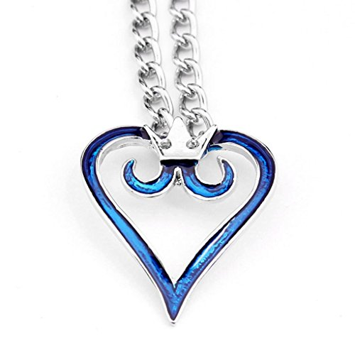 Cosplay Anime Kingdom Hearts 2 Crown Logo Pendant Blue Heart Necklace Charm - 1