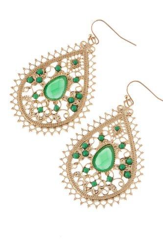 Karmas Canvas Beaded Teardrop Earrings (Green) front-997461
