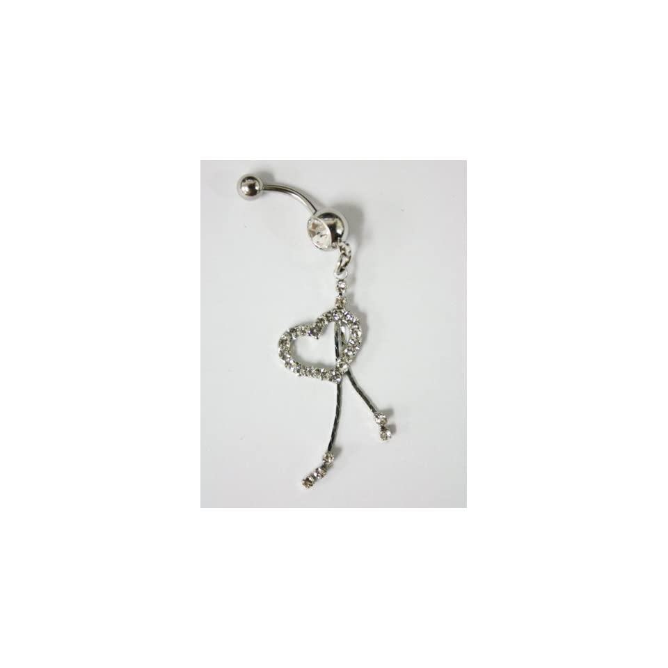 Cubic Zirconia Dangle Heart Belly Ring   Navel Ring