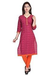 Rajpari Women's Cotton 3/4 Sleeve Kurta