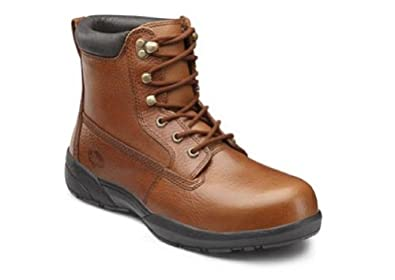 Dr. Comfort Mens PROTECTOR Brown Steel Toe Diabetic Extra Depth Lace Boot (6M)