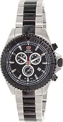 buy Swiss Precimax Men'S Sp12197 Maritime Pro Black Dial Two-Tone Stainless Steel Band Watch