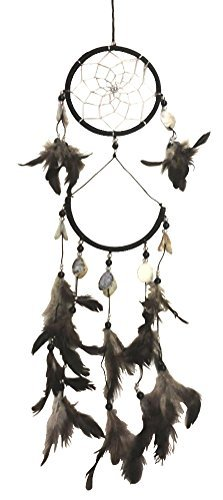 Black Dream Catcher with Seashells and Feathers