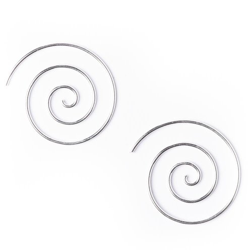 81stgeneration Women's .925 Sterling Silver Spiral 25 mm Spiral 18 Gauge Wire Tribal Earrings