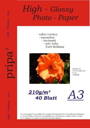 pripa-photo-paper-40-sheets-din-a3210-g-sqm-glossy-dries-immediately-waterproof-very-high-photo-bril