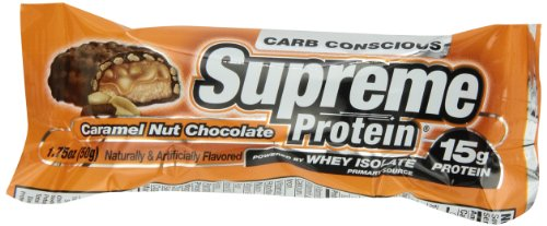 Supreme Protein 50 g Caramel Nut Crunch Whey Protein Snack Bars - Box of 9