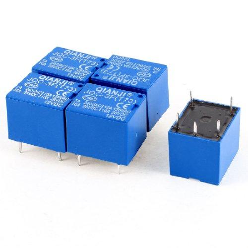 5Pcs Blue Pcb Mount Dc 12V Spdt 5 Pin Mini Power Relay Jqc-3F(T73)
