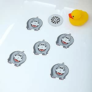 hippo bathtub stickers safety decals treads non slip anti skid shower applique. Black Bedroom Furniture Sets. Home Design Ideas