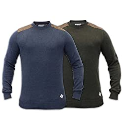 Mens Jumper Sweater Threadbare Top Tweed Dog Tooth Patches Pullover Winter 054 from Threadbare