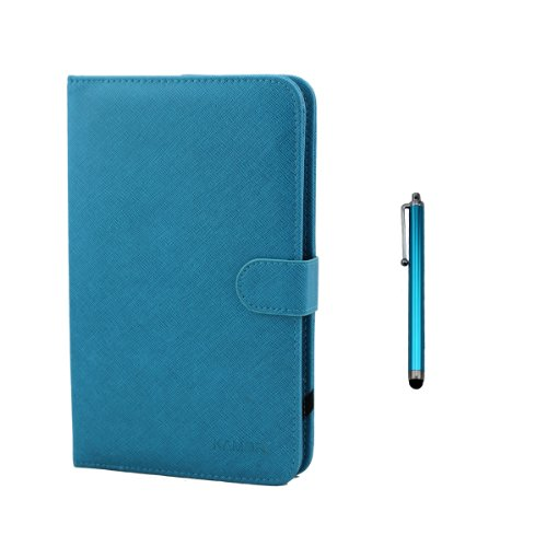 "Kamor® 10.1"" Pu Leather Stand Case + Micro Usb Keyboard With Touch Screen Stylus Pen For 10.1 Inch Android Tablet Pc + Micro To Mini & Micro To Samsung 30Pin Adapter (Light Blue)"