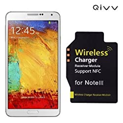 QIVV 0.5mm Ultra Thin High Efficiency Qi Wireless Charger Charging Receiver Module for Samsung Galaxy Note 3 N900 N9005 | Easy Installation | Light Weight -All in Black in Retail Gift Box