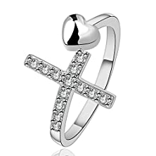 buy Efloral Women'S Fashion Jewelry Cross Diamond Small Love Heart Ring