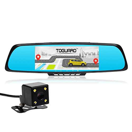"TOGUARD 7"" Touch Screen Car Smart Mirror Dash DVR, Full HD 1080P, WiFi, Free Map, GPS Navigation, Dual Camera Lens, Rear View Mirror, Backup Camera, Android 4.4, RAM 1GB + ROM 16GB"