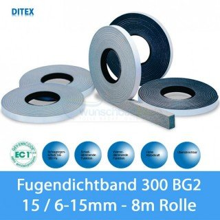 Ditex Fugendichtband / Kompriband 300 BG2 15x6-15mm - 4,30m Rolle - GRAU