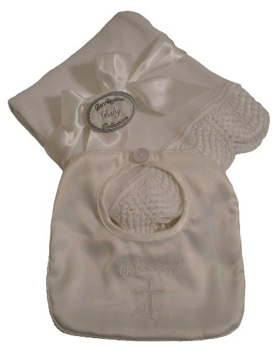 Bearington Bears Baby Boys Christening Baptism Blanket and Bib Set - 1