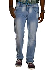 Jugend Light Blue Distressed Stretchable Washed Slim Fit Jeans For Men