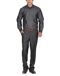LAGNESH Men's Long Sleeve Shirt (Grey, 44)