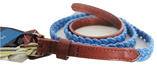 john-lewis-skinny-cotton-plait-with-real-leather-tabs-belt-in-blue-size-medium