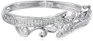 Sterling Silver Bypass Wave Diamond Ring (0.015 cttw, I-J Color, I2-I3 Clarity) by Amazon Curated Collection