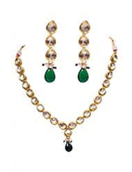 Rubera's Kundan Necklace Set With Ruby Drops - B00SR0SY6M