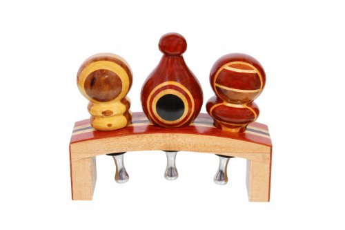 Vinostrumenti Exotic Hard Wood Wine Bottle Stopper Stand For 3 Stoppers front-228695