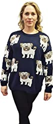 1klickglobal Ladies womens Pug dog Jumper knitted sweaters top oversized