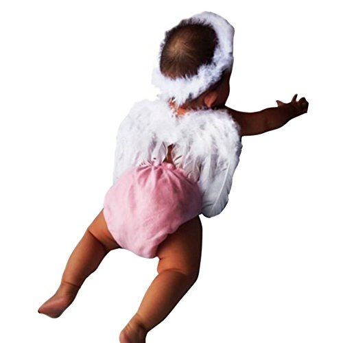 Weixinbuy Infant Baby Angel Feather Wings Halo Photo Party Costume