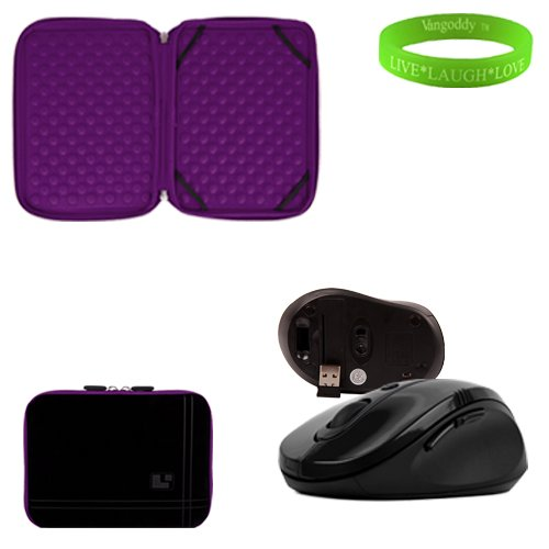 13 Inch Black And Purple Plum Laptop Sleeve For The Dell Inspirion 13 Z Ultrabook With A Small Pocket. Shock Absorbent Bubble Padding To Prevent Minor Damages To Your Ultrabook. + Black Gloss Wireless Mouse + Vangoddy Live Laugh Love Bracelet