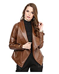 Yepme Women's Brown Faux Leather Jackets - YPMJACKT5201_XL