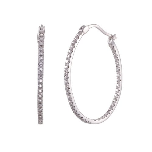 Sterling Silver White Diamond Accent Hoop Earrings (30mm Diameter)