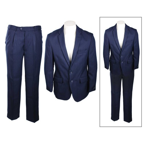 Thomas Brooks Men's Navy Herringbone Two Button Single Breasted Suit in Size 2XLarge