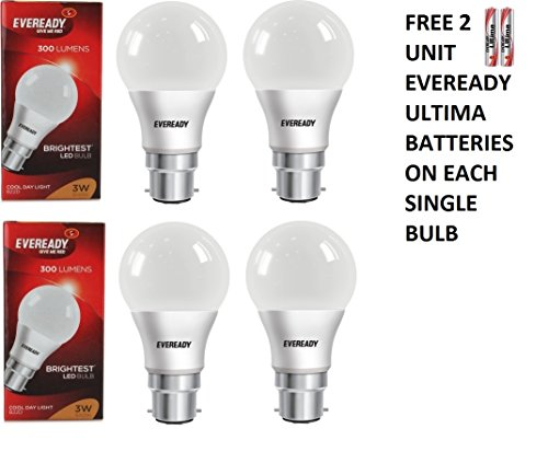 3W Plastic LED Bulb (White, Pack Of 4)