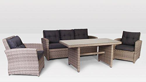 Polyrattan Gartenmöbel Sitzgruppe Lounge Gartenset Garnitur Vasto Royal grau mix