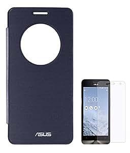 TBZ Premium Circle Window Flip Cover Case -Pebble Blue for Asus Zenfone 5 with Screen Guard